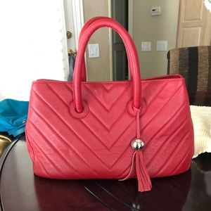 VINTAGE red Furla tote bag Leather Quilted chevron